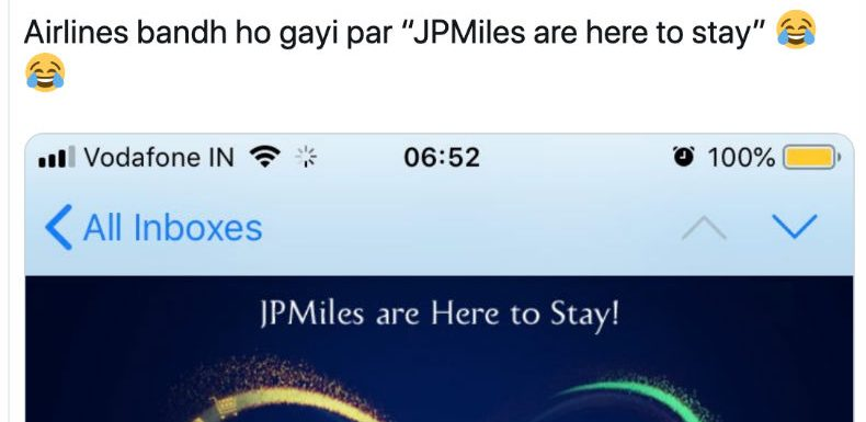 """""""I have miles to go… before I let Indians know that I'm not associated with a defunct airlines brand"""" —JPMiles"""