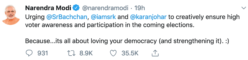 Narendra Modi's tweets to celebrities – a lesson in conversation vs. broadcast