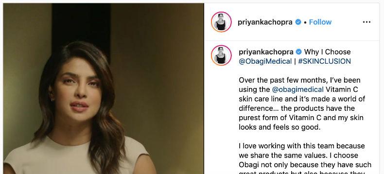 Priyanka Chopra's Obagi endorsement and the lack of disclosure