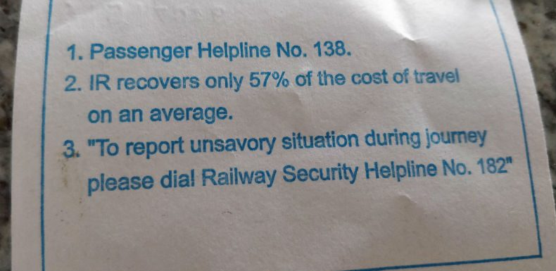 Indian Railways recovers ONLY 57% of the cost of travel!