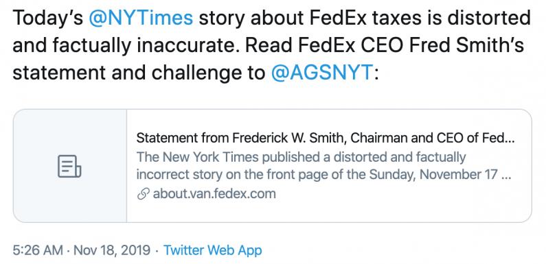 FedEx vs. The New York Times