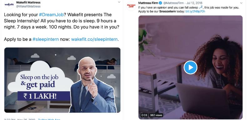 Wakefit's Sleep Internship vs. MattressFirm's Snoozetern