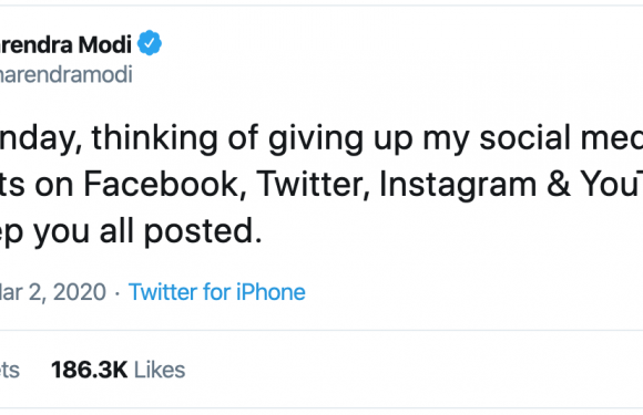 Modi 'giving up' his social media accounts