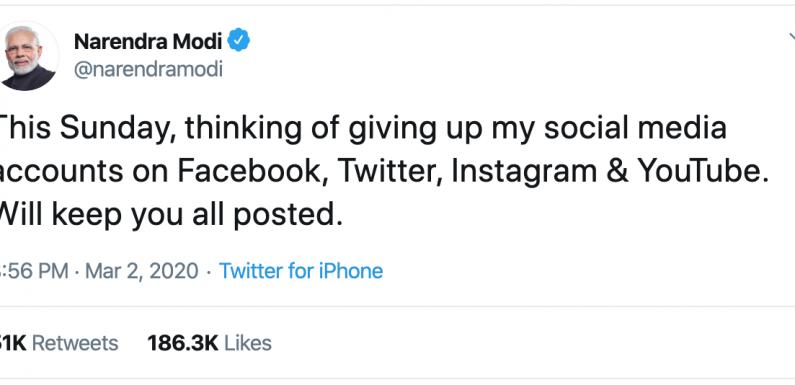 Modi 'giving up' his social media accounts