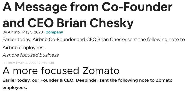 Lessons in communicating layoffs, while comparing and contrasting Airbnb and Zomato