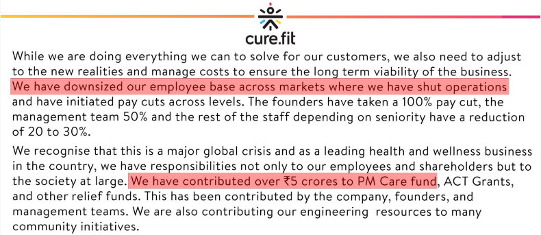CureFit's Rs.5 crores communications blunder
